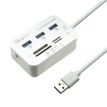 هاب چند کاره USB به USB 3.0 / SD card / MS card / M2 card / TF card وریتی مدل H408-1