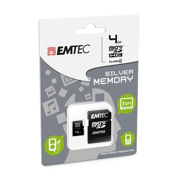 کارت حافظه Micro SDHC امتک مدل Silver ظرفیت 4 گیگابایت کلاس 4 با آداپتور - 1