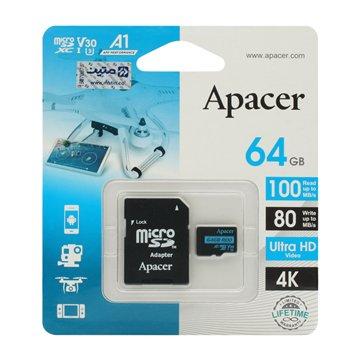 کارت حافظه Micro SDXC اپیسر استاندارد UHS-I U3 V30 R100 ظرفیت 64 گیگابایت با آداپتور - 1