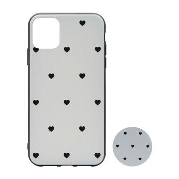 کاور پیونی مدل اپل آیفون 11 طرح Tiny hearts همراه با پاپ سوکت