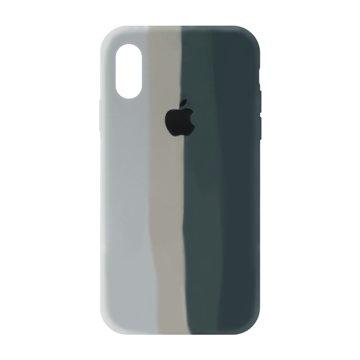 کاور TPU سیلیکونی پروتیا مدل اپل آیفون XS / X طرح رنگین کمان Gray