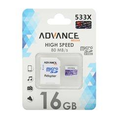 کارت حافظه Micro SDHC ادونس مدیا 533x استاندارد UHS-I U1 ظرفیت 16 گیگابایت با آداپتور
