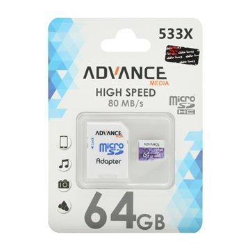 کارت حافظه Micro SDHC ادونس مدیا 533x استاندارد UHS-I U1 ظرفیت 64 گیگابایت با آداپتور