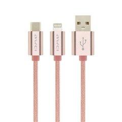 کابل تبدیل اورجینال USB به Type-C و لایتنینگ آوی مدل CL-984 طول 1 متر-1