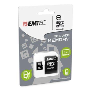 کارت حافظه Micro SDHC امتک مدل Silver ظرفیت 8 گیگابایت کلاس 4 با آداپتور