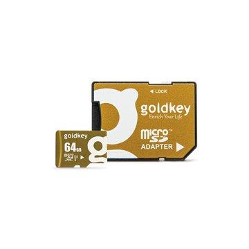 کارت حافظه Micro SDXC گلد کی استاندارد UHS-I U1 ظرفیت 64 گیگابایت کلاس 10 با آداپتور
