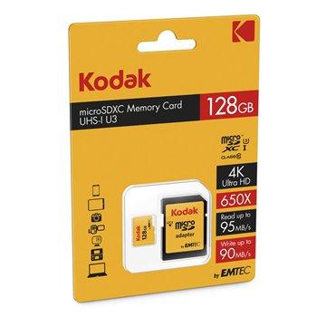 کارت حافظه Micro SDXC کداک استاندارد UHS-I U3 ظرفیت 128 گیگابایت کلاس 10با آداپتور